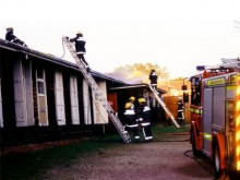Firefighters attending the original All Saint's Church Hall, Oct 2002