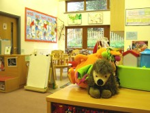 Creche area, with cuddly toys abound